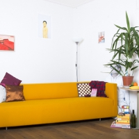 TE KOOP - Oranje Design Bank, 90x135 cm, 2014