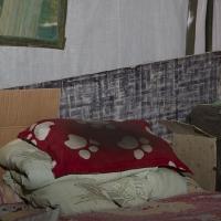 Pillow migrant workers home, Caochangdi Beijing, 100x80 cm, 2009