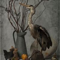 La Murène et le Heron, 102x72 cm, 2016